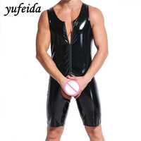 Fetish Dress For Men Sexy Faux Latex Leather Looklike Costumes Gay Body Harnesses Wear Sex Game Apparel Teddies Bodysuits