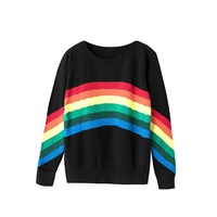 New Autumn Rainbow Sweaters Women Striped Women'S Knitted Sweater Loose O Neck Pullover Outfit Fashion
