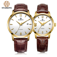 Старкинг Relogio часы Femme механические часы дамы любителей часы для мужчин женское платье кожа Мода парный комплект наручных часов AM/L0194