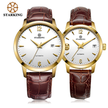STARKING Relogio Watch Femme Mechanical Watch Ladies Lovers Watches Men Women Dress Leather Fashion Couple Wristwatches AM/L0194