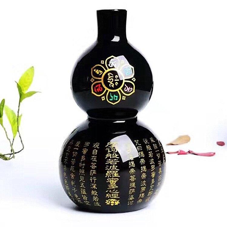 Gourde obsidienne noire naturelle plutôt suspecte après mauvais esprits maison Transport Feng Shui ameublement choses 160x90mm