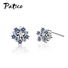 New Design 925 Sterling Silver Women Concise Cubic Zircon Wedding Stud Earrings Metal Korean Breif Ear Bijoux Birthday Gift