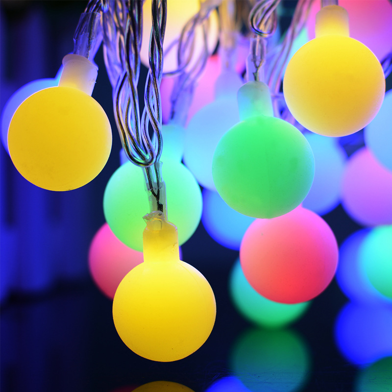 Solar lights string 7 meters 50LED cream white ball shape ball Christmas day color strin ...