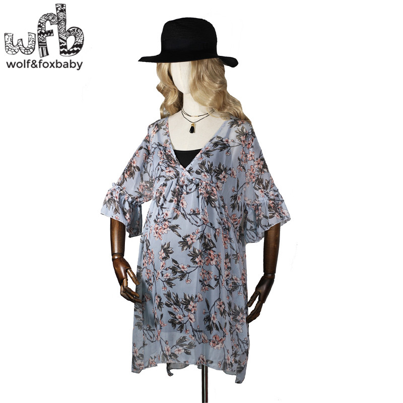 Retail Pregnant women Large size dress printing flower chiffon short-sleeve V-neck summer