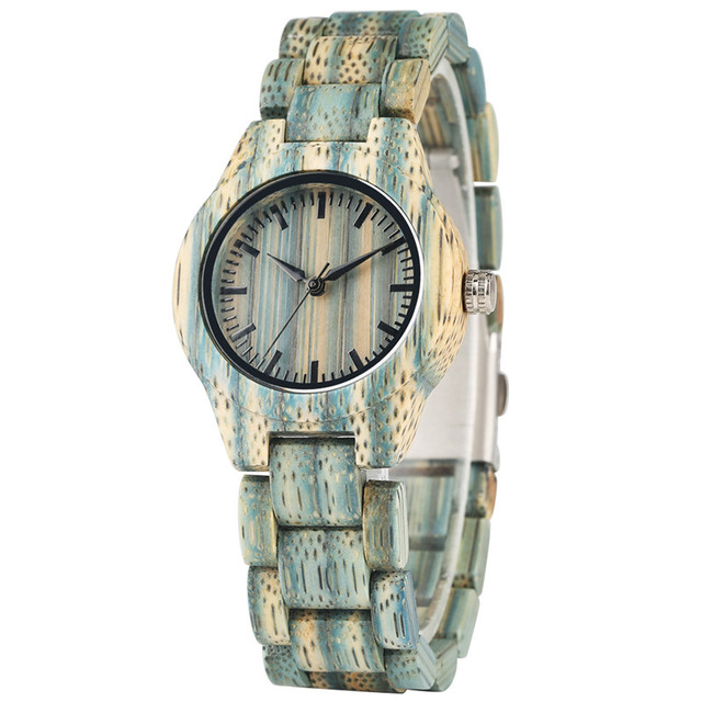 Relogio Feminino Casual All  Wooden Quartz Watch Movement for Women Green Quartz Wooden Wrist Watches Folding Clasp Wood Watch | Fotoflaco.net