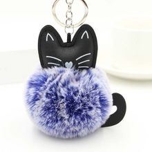 Lovely Cat Keychain Fluffy Plush Fur Ball Key Chain Car Keyring Women Key Holder Bag Pendant Charm Accessories Chaveiro Llaveros(China)