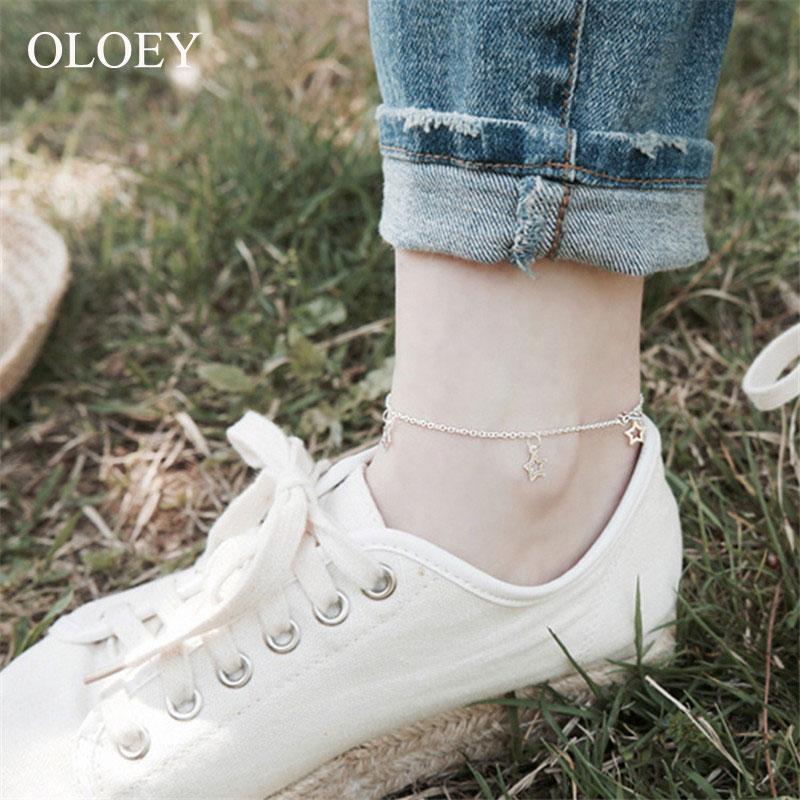 OLOEY Korean Style Star Anklets for Women Girls Genuine 925 Sterling Silver Lovely Cute Foot Bracelets Fine Jewelry Gift YMA005