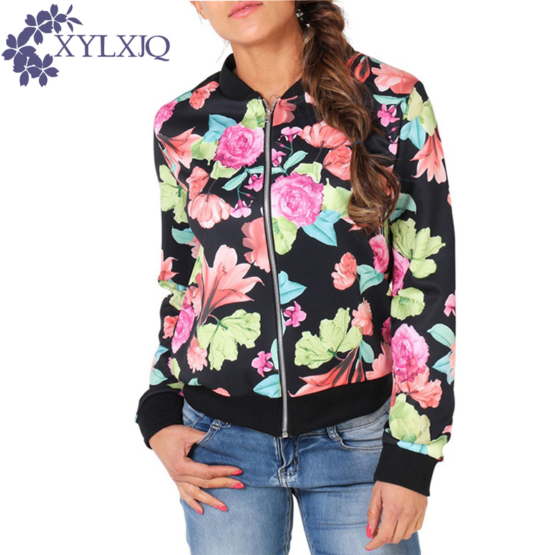 Fashion Short Thin Zippers Women Bomber Jackets Floral Printed  Baseball Female Basic Jacket 2017 Spring Casual Coats JA739