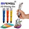 Myriwell Original Magia Inteligência Desenho Canetas de Impressão 3D Caneta Impressora 3D Com ABS/PLA Filament 1.75mm Melhor Presente para As Crianças