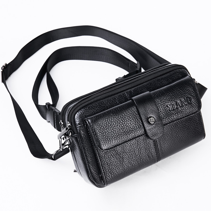 Men Fanny Chest Pack Cell Phone Purse Messenger Shoulder Bags Casual Male Genuine Leather Crossbody Hip Bum Belt Waist Pack Bag