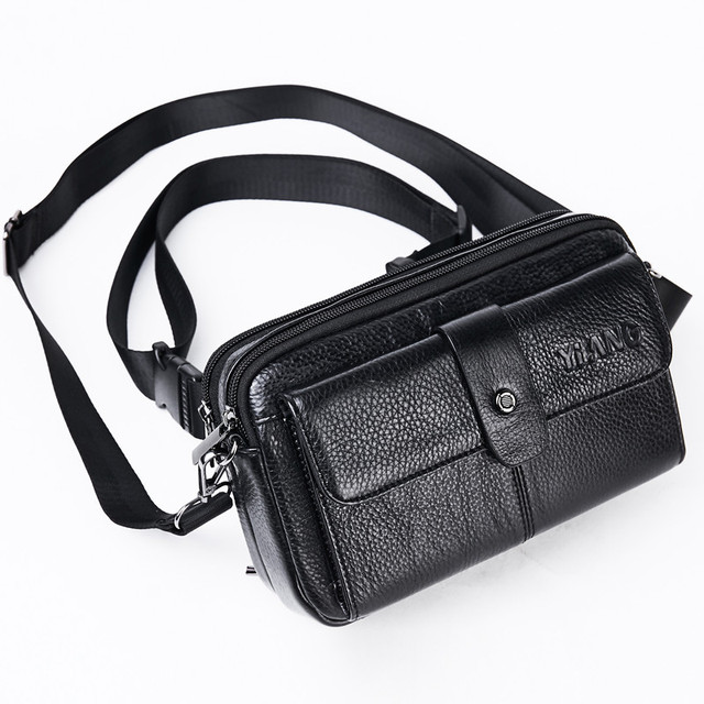 9c38802ae0 Men Fanny Chest Pack Cell Phone Purse Messenger Shoulder Bags Casual Male Genuine  Leather Crossbody Hip