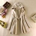 5 Color! 2014 Nuevas Mujeres Coreanas de Manga Larga Solapa de Otoño Con Capucha Trench Coat Para Las Mujeres Outwear Cazadora Informal Delgado abrigo