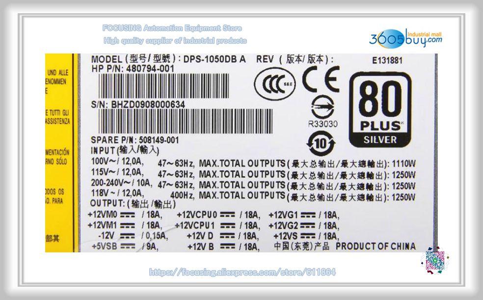 DPS-1050DB A 1250W Power Supply 508149-001 480794-002 480794-003 Z800 PSU Power 656721 001 power supply unit psu