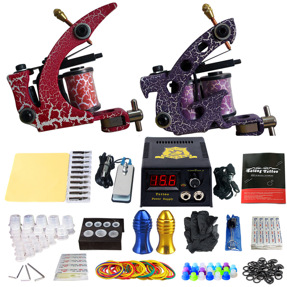 Complete Tattoo Machine Kit Set 2 Coils Guns Sets Grips Body Arts Supplies Needles Tips Tattoo Beginner Kits TK202-39 usa dispatch complete beginner tattoo kit 3 machines guns lcd power needles tips grips set equipment supplies