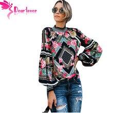 38a6e598035b1 Dear Lover Spring 2019 Black Bohemian Floral Women Blouse Shirts Long  Sleeve Smocked Neckline Leopard Print