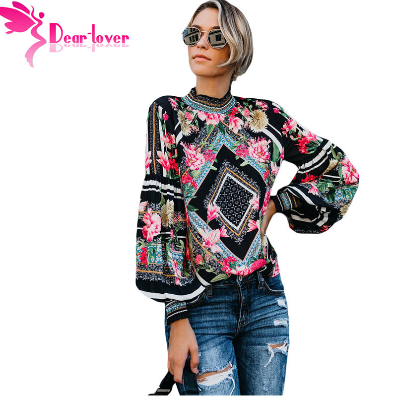 Dear Lover Spring 2019 Black Bohemian Floral Women   Blouse     Shirts   Long Sleeve Smocked Neckline Leopard Print Female Tops LC251632