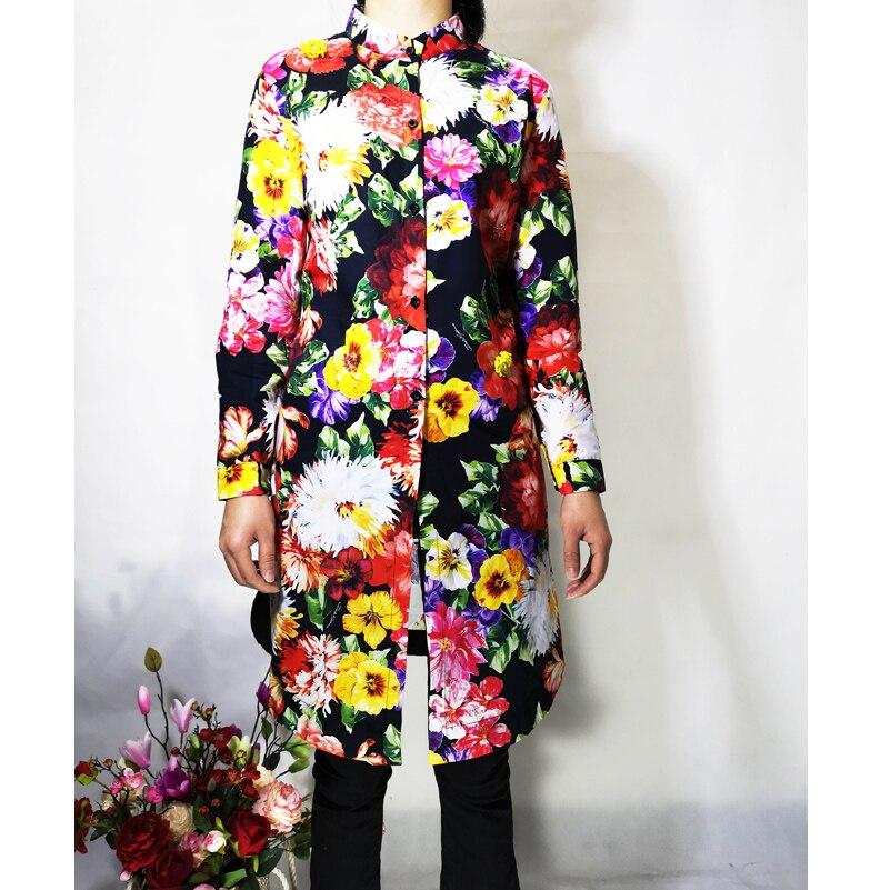 Paillettes Femmes Fleurs Perles Luxe Blusas À Multi Mujer Vintage Longues Imprimé Longue De Manches Coton Designer Moda Qualité Haute Shir kXPiOZu