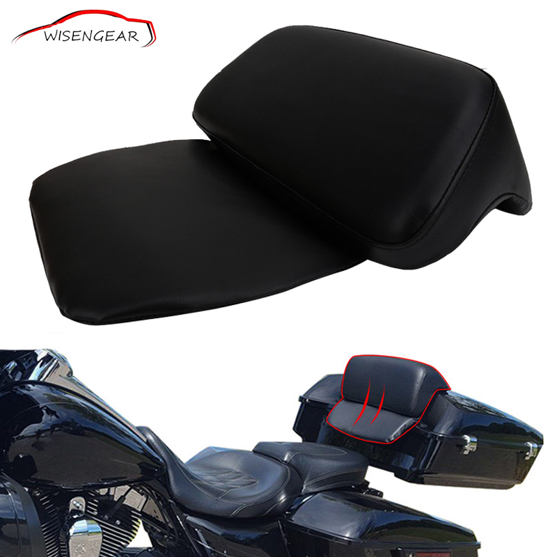 WISENGEAR Black PU Rear Luggage Chopped Tour Pak Backrest Pad Passenger Cushion For Harley Touring Electra