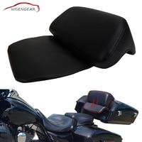 WISENGEAR Black PU Rear Luggage Chopped Tour Pak Backrest Pad Passenger Cushion For Harley Touring Electra