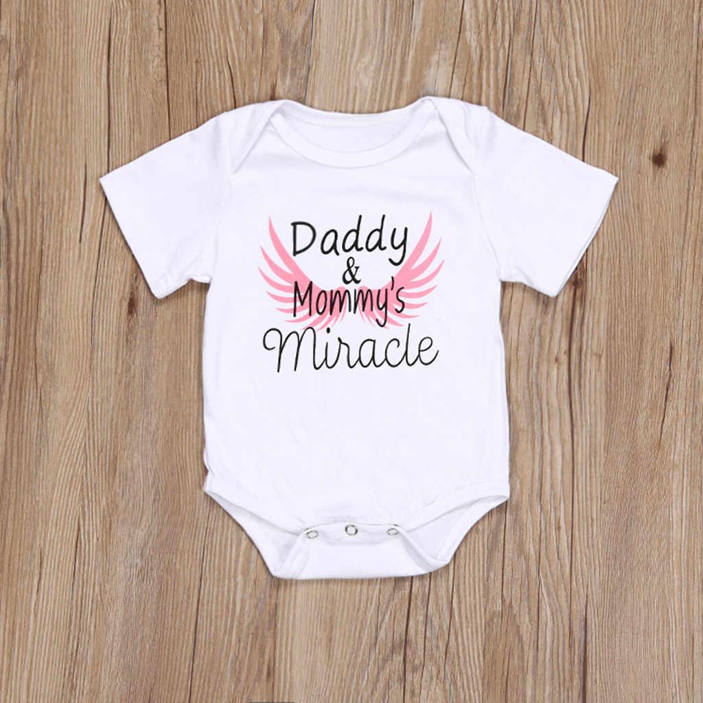 Moda nuevo verano bebé mameluco recién nacido Carta del Día del Padre impresión mameluco bebés niños mono ropa de manga corta