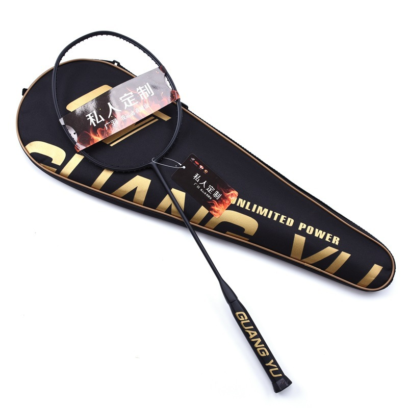 Smash type 4U raquette de badminton véritable fibre de carbone 32 livres offensif niveau professionnel violence noir raquet