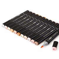 12 Colors Skin Tones Soft Brush Markers Set Alcohol Based Sketch Copic Marker Pen For Manga