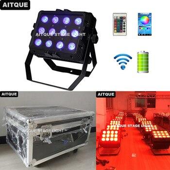 8 قطع أضواء للمسرح مصباح قابل لإعادة الشحن ip65 في الهواء الطلق rgbwa uv 12x18 واط أضواء dmx اللاسلكية مصباح led يعمل بالبطارية uplights flycase