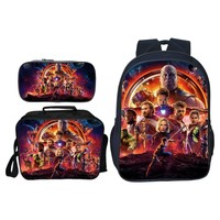 3Pcs/Set Cool Fashion Printing Cartoon Avengers Kids Baby School Bags Thanos Backpacks Hero Children Schoolbag for Boys Bookbag