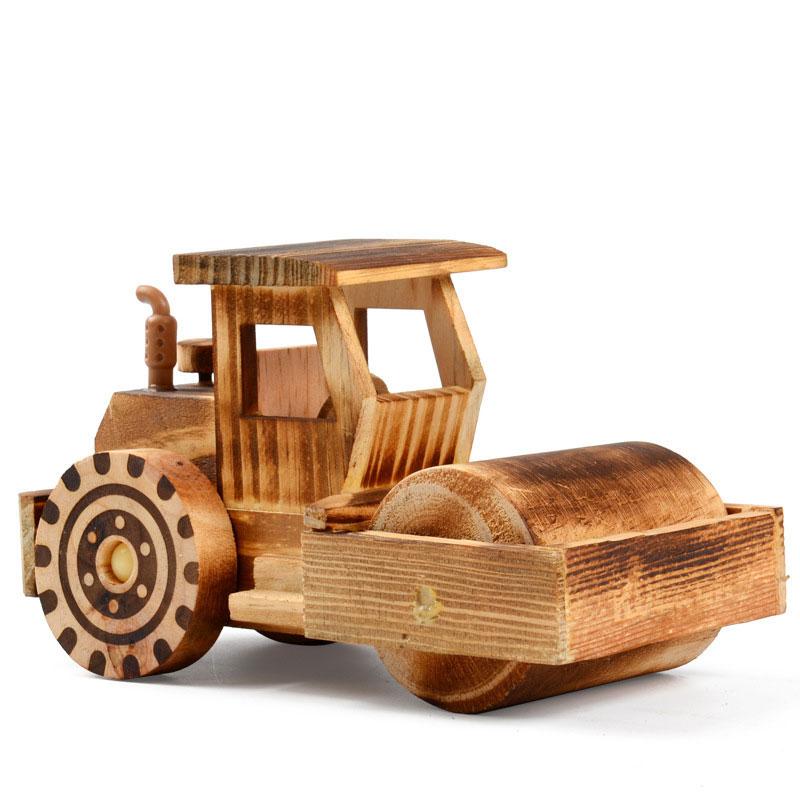 Wooden Street Roller Car Model Development Kids Toys Crafts Decoration