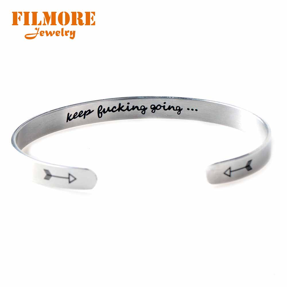 Keep Going Bracelet Quotes Mantra Bracelet Wide 6mm Cuff Bangle for Her and Him Inspirational Jewelry Gift New Year Graduation