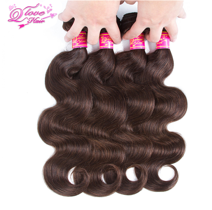 Queen Love Hair Malaysian Body Wave Hair Weave Bundles Human Hair Extension Pre-Coloed #2 Non-Remy Hair Free Shipping