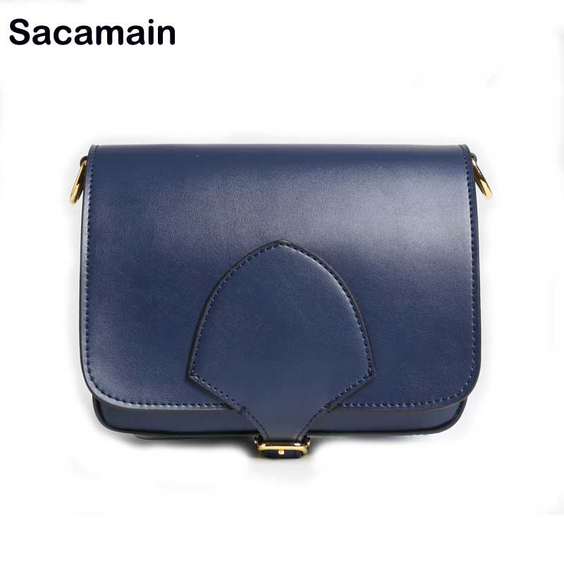 Sacamain Brand Vintage Leather Bag Women Genuine Leather Flap Bolsas Bolsa Feminina Women's Bag Unicorn Shoulder Crossbody