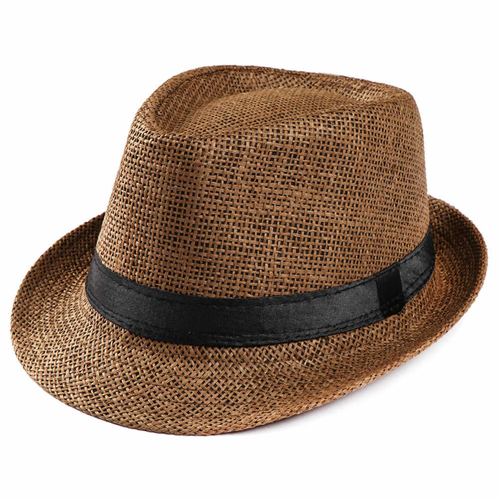 feitong Hot Unisex Women Men Fashion Summer Casual Trendy Beach Sun Straw  Panama Jazz Hat Cowboy 2a4cac1c64c