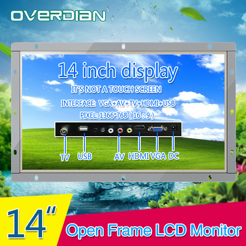 Display 14inch Industrial Lcd Non-Touch Screen Monitor VGA/HDMI/TV/AV/USB Interface Metal Shell White Open Frame1366*768