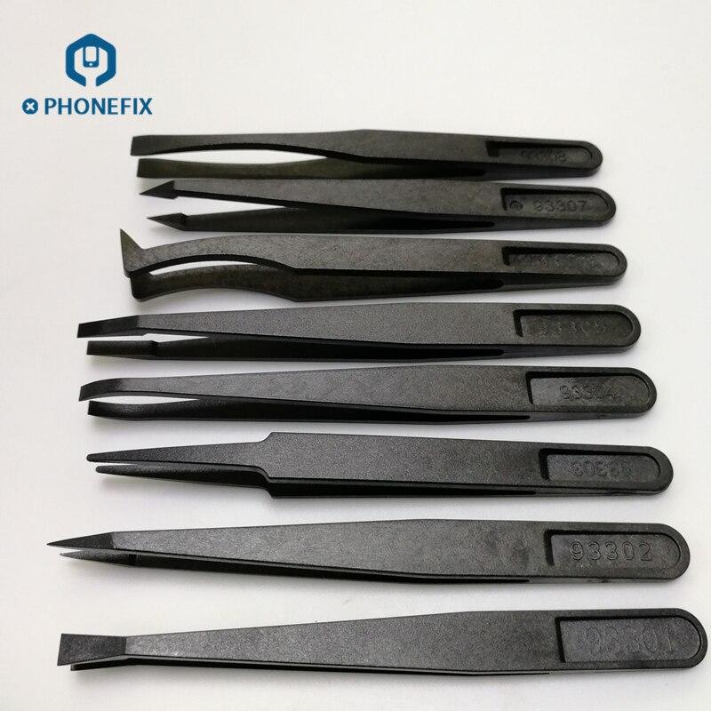 Juego de herramientas de reparaci/ón de pl/ástico antiest/ático de 6 piezas de precisi/ón recta PPS pl/ástico compuesto de fibra Pinzas color: negro