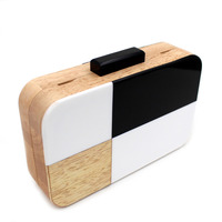 Black And White Designer Handmade Wooden Women Evening Box Clutch Purse Acrylic Solid Bag Chain Women