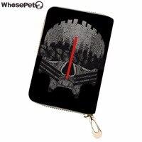 WHOSEPET Women Card Holder Cool Skull Print PU Leather Wellet Case Ladies Credit Card Holder Travel