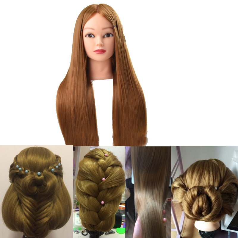24inch Golden Hair Mannequin Head Training Hairdressing Doll Heads Model with Clamp Stand Practice Salon Doll Head