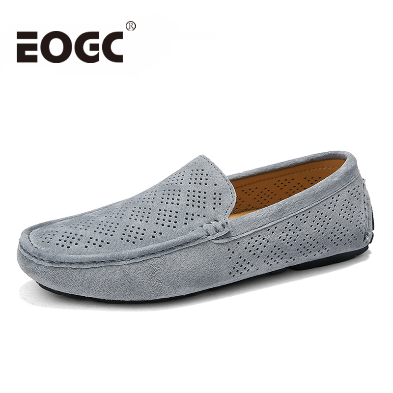 Breathable Men Casual Shoes Genuine   Suede     Leather   Slip On Men Flats Driving Shoes Moccasins Hollow Out Men Loafers Boat shoes