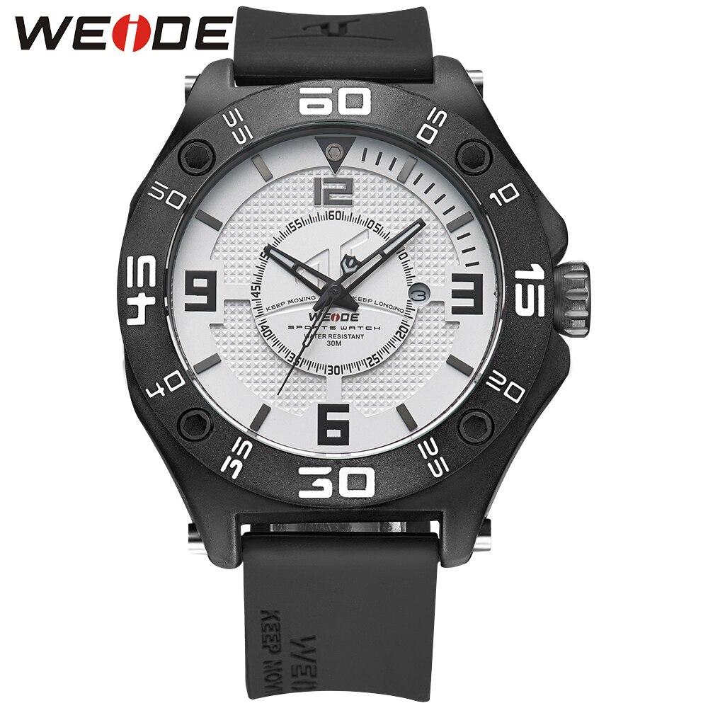 WEIDE Top De Luxe Hommes Sport Marque Montre Noir Bracelet En Silicone Bande Horloge Militaire Quartz Montre-Bracelet Étanche Relogio Masculino