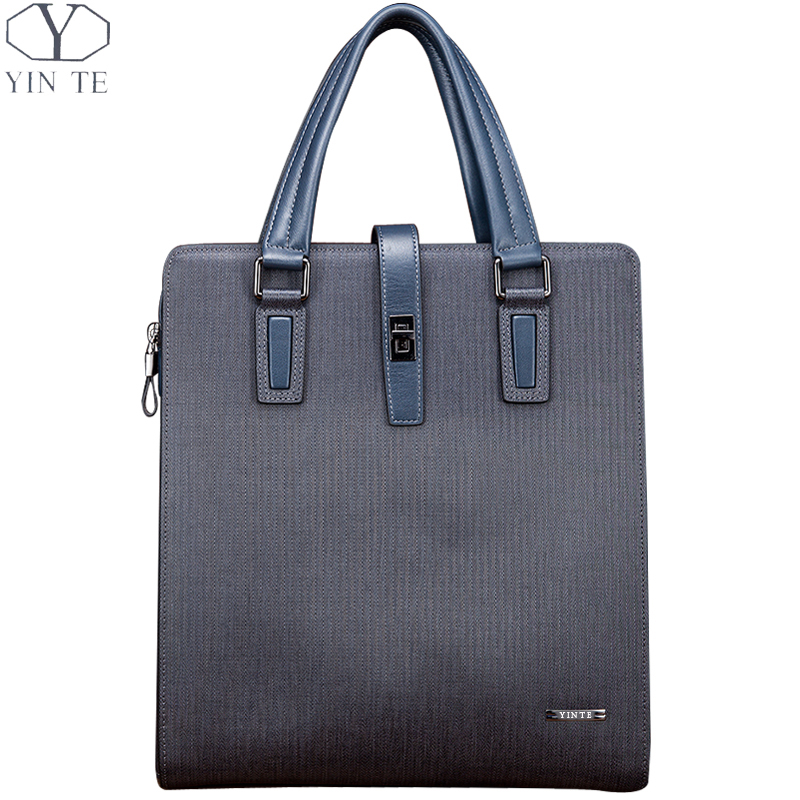 YINTE Men's Handbag Leather Bag Fashion Young Business Briefcase Blue Color Men Business/Meeting/Lawyer Messenger Totes T8387-3 цена и фото