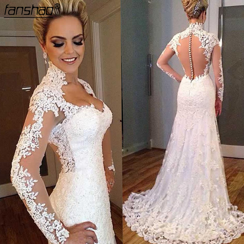 Fashionable Muslim Wedding Dresses Vintage Long Sleeves Glamourous Lace Appliques Bridal Dresses  Mermaid Wedding Gowns Princess