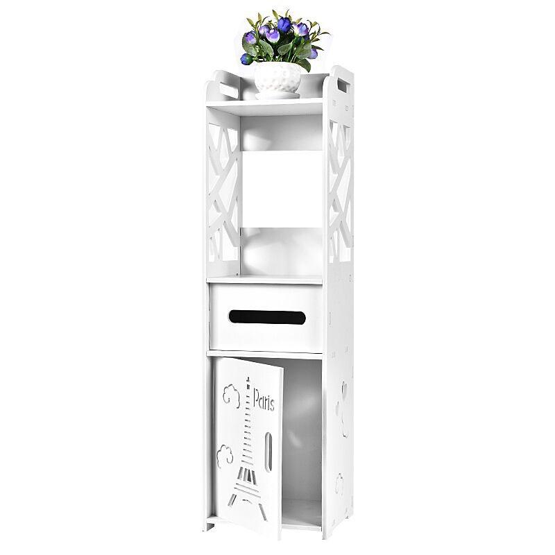 Floor Mounted Bathroom Shelf PVC Toilet Storage Cabinet