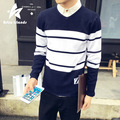 Men`s V-neck Pull over Sweater 2017 New Autumn Fashion   Male Warm Striped Knitwear Leisure Soft Warm Casual Sweater Homme  AR2