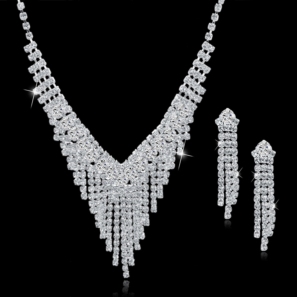 TOUCHEART Wedding Jewellery Set Crystal Bridal Jewelry Sets For Women Long Tassel Statement Necklace/Earrings Set SET150011 4