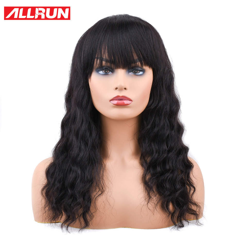 Lace Wigs Allrun Brazilian Non Remy Ocean Wave Human Hair Wigs With Adjustable Bangs Human Hair Wigs Full Machine Natural Color Hair Extensions & Wigs