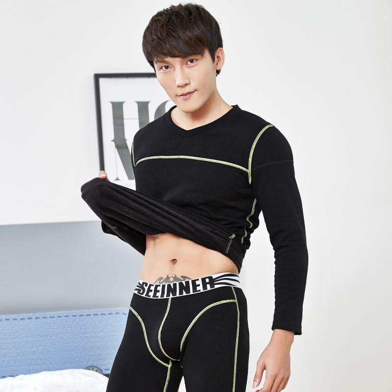 Men warm underwear velvet padded Thermal Underwear Sets Winter Warm Men's Underwear Men's Thick Thermal Underwear Long Johns