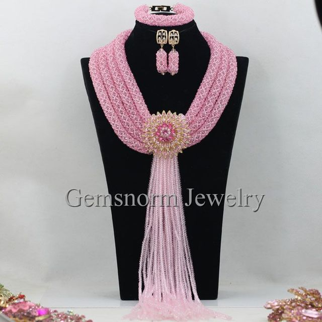 Fabulous Pink African Wedding Crystal Beads Jewelry Set Dubai Indian Bridal Jewelry Set 2017 New Free Shipping WB905