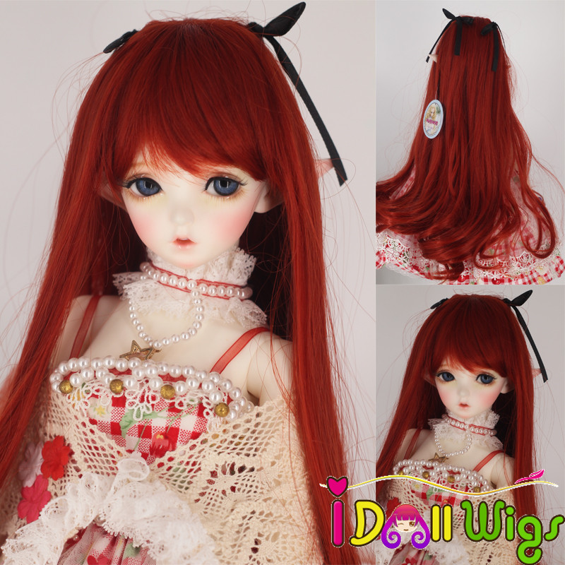 BJD Doll Hair Wigs High Quality Synthetic Fiber Long Curly Red Wigs For 1/3 Bjd Dolls