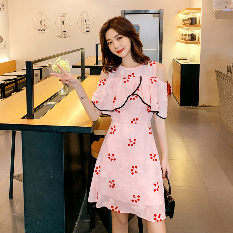 EAD Fashion O Neck Flower Embroidery Women Summer Elegant Dress Good Quality Off Shoulder Sexy Party Dress Pink Ladies Vestido